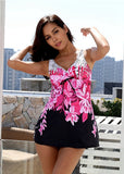 Free Shipping -- Flower Print Tie A Knot Two Piece Swimsuits