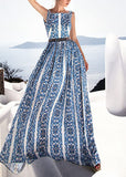 Free Shipping -- Blue Vintage Print Backless Maxi Summer Beach Dress