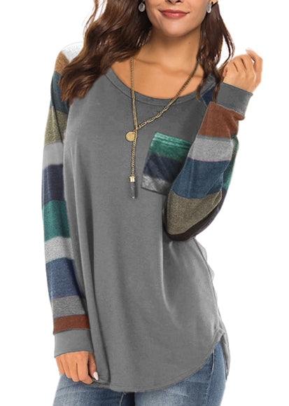 Free Shipping -- Women's Casual Long Sleeve Round Neck Gray Loose Tunic T Shirt With Pocket