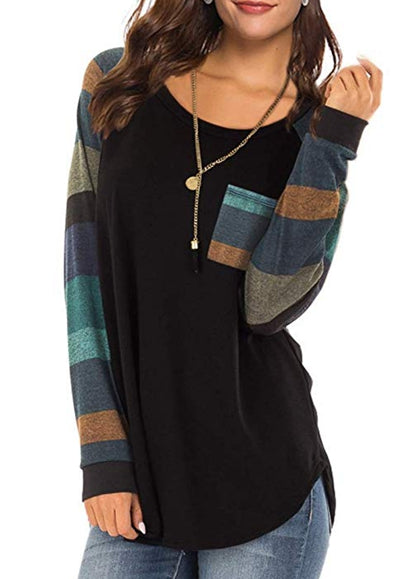 Free Shipping -- Women's Casual Long Sleeve Round Neck Black Loose Tunic T Shirt With Pocket