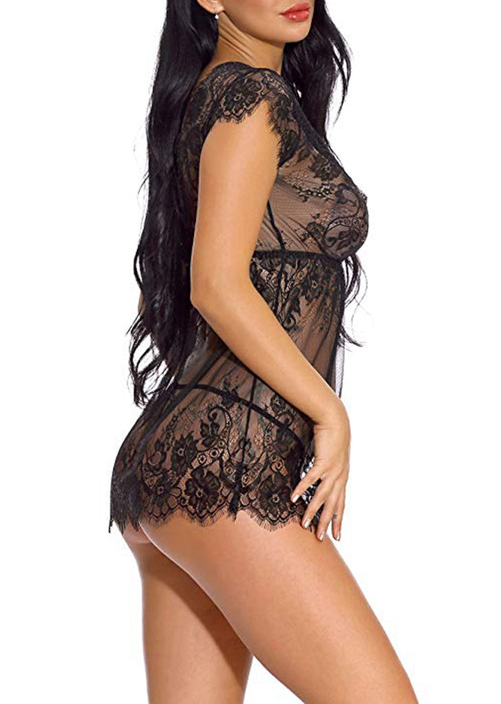 Free Shipping -- Lingerie Underwear Lace Short Sleeve V-Neck Babydoll