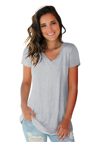 Free Shipping -- Women's Basic V Neck Short Sleeve T Shirts Summer Casual Tops
