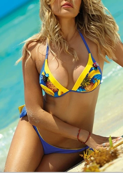 Free Shipping -- Banana Pineapple Print Push Up Halter Bikini