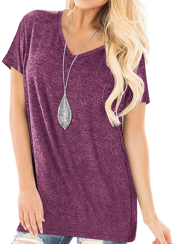 Free Shipping -- Loose Solid Color Short Sleeve V-Neck Summer Tops