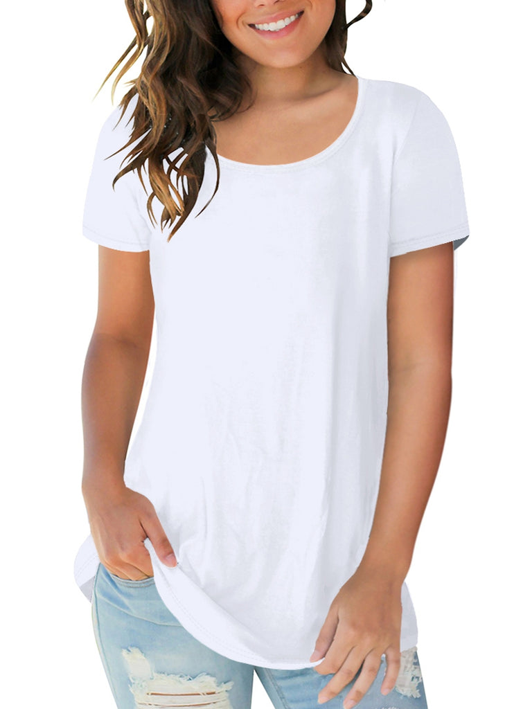 Free Shipping -- Solid Color Round Neck Short Sleeve Casual Tops