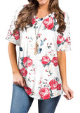 Free Shipping -- Loose Floral Print Lace Short Sleeve V-Neck T-Shirt