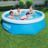 Free Shipping -- Bestway 8ft Fast Set Round Family Inflatable Swimming Pool for Backyard Summer Water Party Outdoor