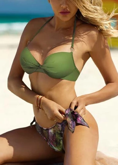 Free Shipping -- Sexy Green/Purple Floral Print Knotted Push Up Halter Bikini