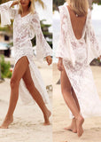 Free Shipping -- White Long Sleeve Hollow Out in Back Lace Beach Dresses