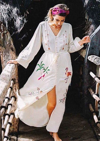 Free Shipping -- Crane Embroidered Button Long Sleeve Beach Bikini Maxi Cover Ups Dress