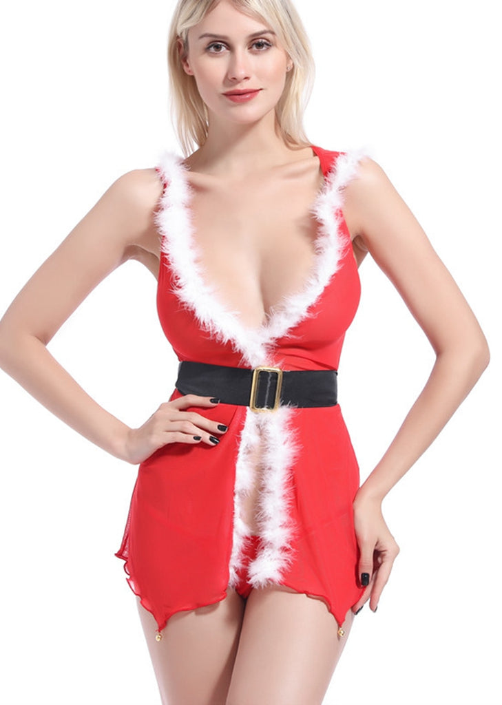 Free Shipping -- Santa Claus Red Mesh with hat Lingerie Set