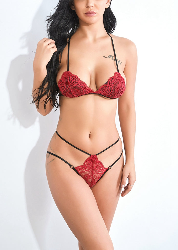 Free Shipping -- Red Lace Halter Bra Sets Lingerie Underwear