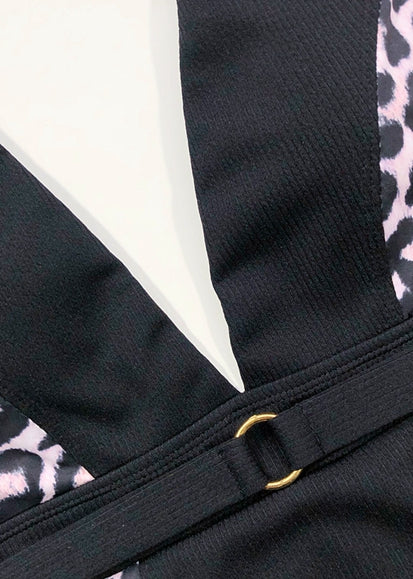 Free Shipping -- Black Leopard Print with Belt Monokini