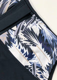Free Shipping -- Black Leaf Print with Belt Monokini