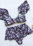 Free Shipping -- Navy Floral Print Removable Shoulder Strap with Ruffle Bikini