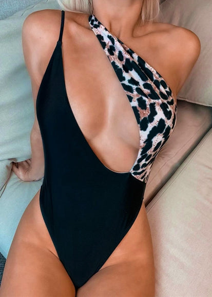 Free Shipping -- Leopard Print Deep V-Neck One Shoulder Monokini