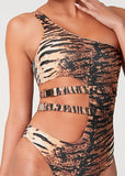 Free Shipping -- Tiger Print One Shoulder with Metal Buckle Monokini