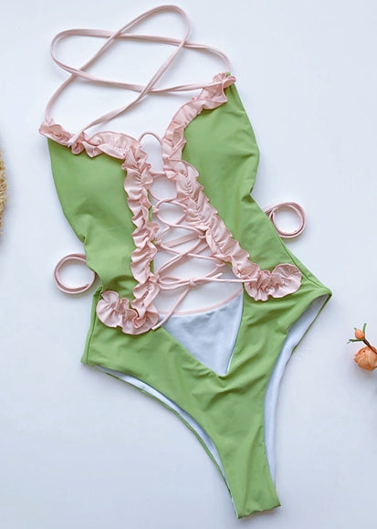 Free Shipping -- Green/Pink Lace Up Halter Monokini with Ruffle