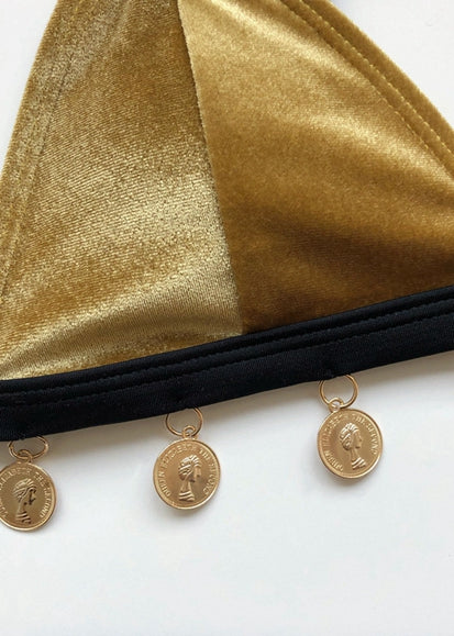 Free Shipping -- Gold Velvet with Coin Detail Triangle Bikini