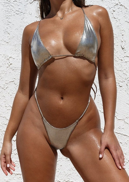 Free Shipping -- Sexy Women Metallic Sliding Triangle One Piece Swimsuit Monokini