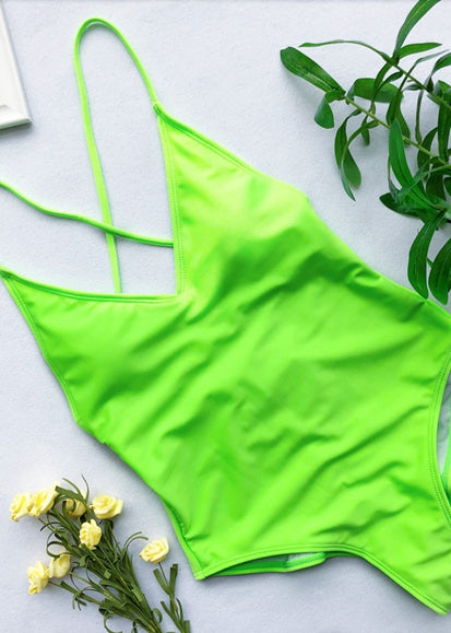 Free Shipping -- Solid Color Hollow Out in Back Monokini
