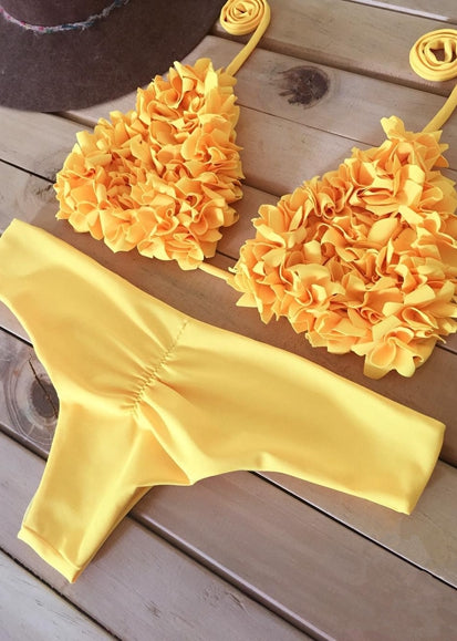 Free Shipping -- Solid Color Flower Appliques Halter Bikini