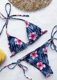 Free Shipping -- Navy Blue Floral Print Tie Knot Side Halter Bikini