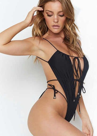 Free Shipping -- Backless Pleated Swimsuit Sexy Lace Up One Piece Monokini