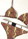 Free Shipping -- Red Snakeskin Print Belt with Buckle Halter Bikini