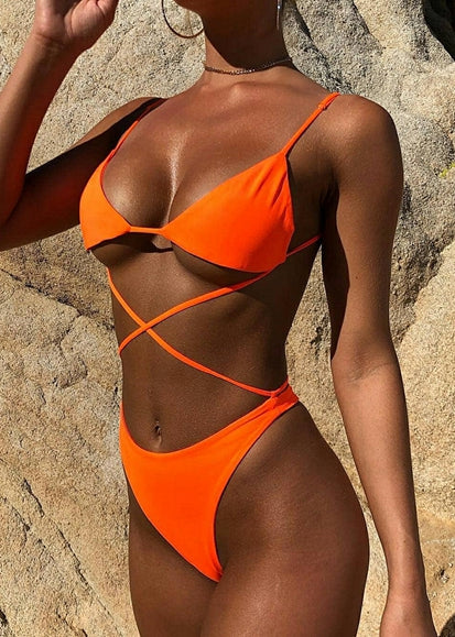 Free Shipping -- Solid Criss Cross Front Thong One Piece Swimsuit Monokini
