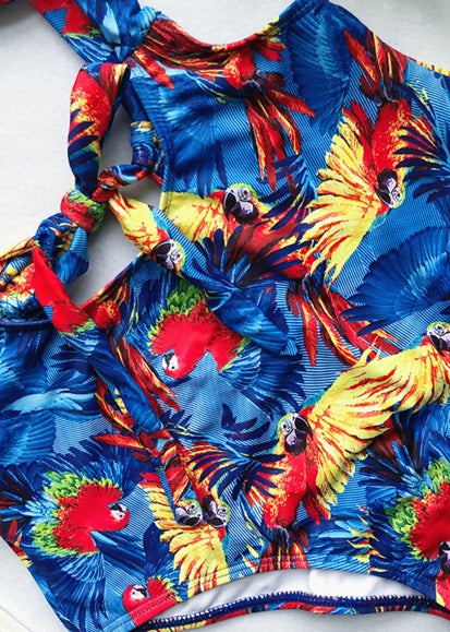 Free Shipping -- Blue Parrot Print Bandeau Bikini Bow Tie Two Piece Swimsuits