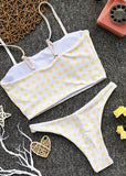 Free Shipping -- Sunny Girl Yellow Plaid Print Cute Bikini