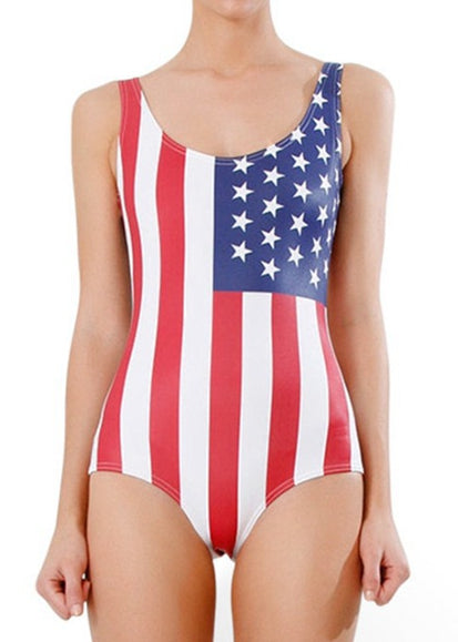 Free Shipping -- American Flag Print Hollow Out in Back Monokini