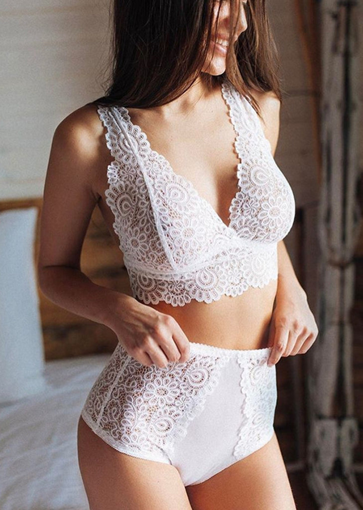 Free Shipping -- Lace Lingerie Underwear V-Neck High Waisted Bra Set