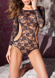 Free Shipping -- Black Corset Closure Lace Long Sleeve Backless Teddy Bodysuit