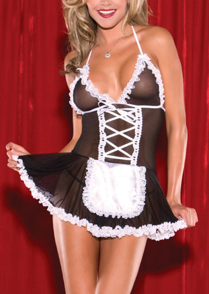 Free Shipping -- Maid Outfit Lingerie Black Halter Backless Cosplay Costume