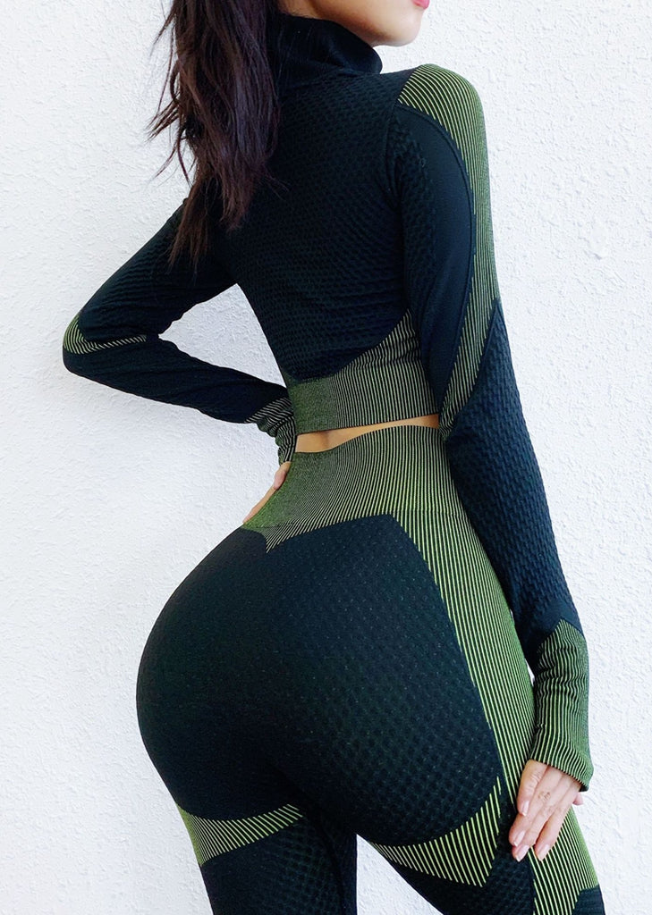 Free Shipping -- Seamless Leggings and  Long Sleeve Crop Top Yoga Outfits Set for Women