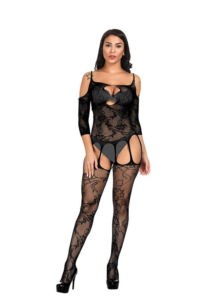 Free Shipping -- Black Cold Shoulder Lingerie Sleepwear Long Sleeve Bodystocking