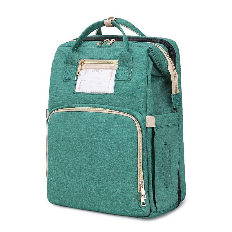 Free Shipping -- 4-in-1 Baby Diaper Backpack Bag, Green Travel Foldable Bed with Mattress, Portable Changing pad, Large Capacity Mommy Bag