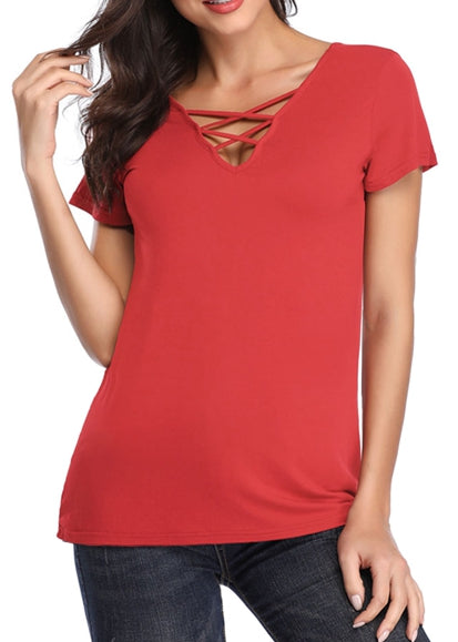 Free Shipping -- Solid Colors Open Back Short Sleeve Casual T-Shirts