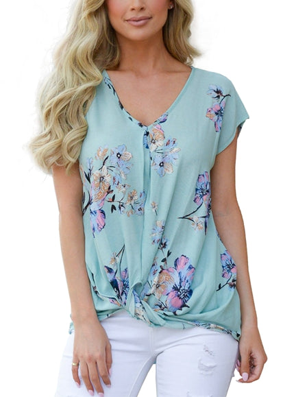 Free Shipping -- Green Floral Print V Neck Front Twist T Shirts Casual Short Sleeve Summer Top