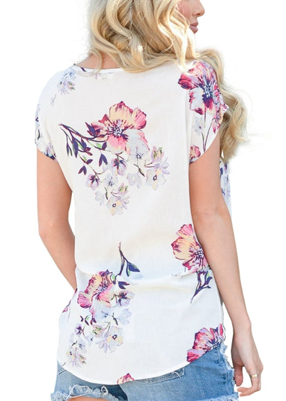 Free Shipping -- Floral Print V Neck Front Twist T Shirts Casual Short Sleeve Summer Top