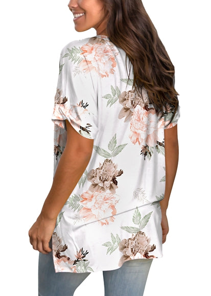 Free Shipping -- Women's Rose Print V Neck T Shirt Rolled Sleeve Side Split Tunic Tops