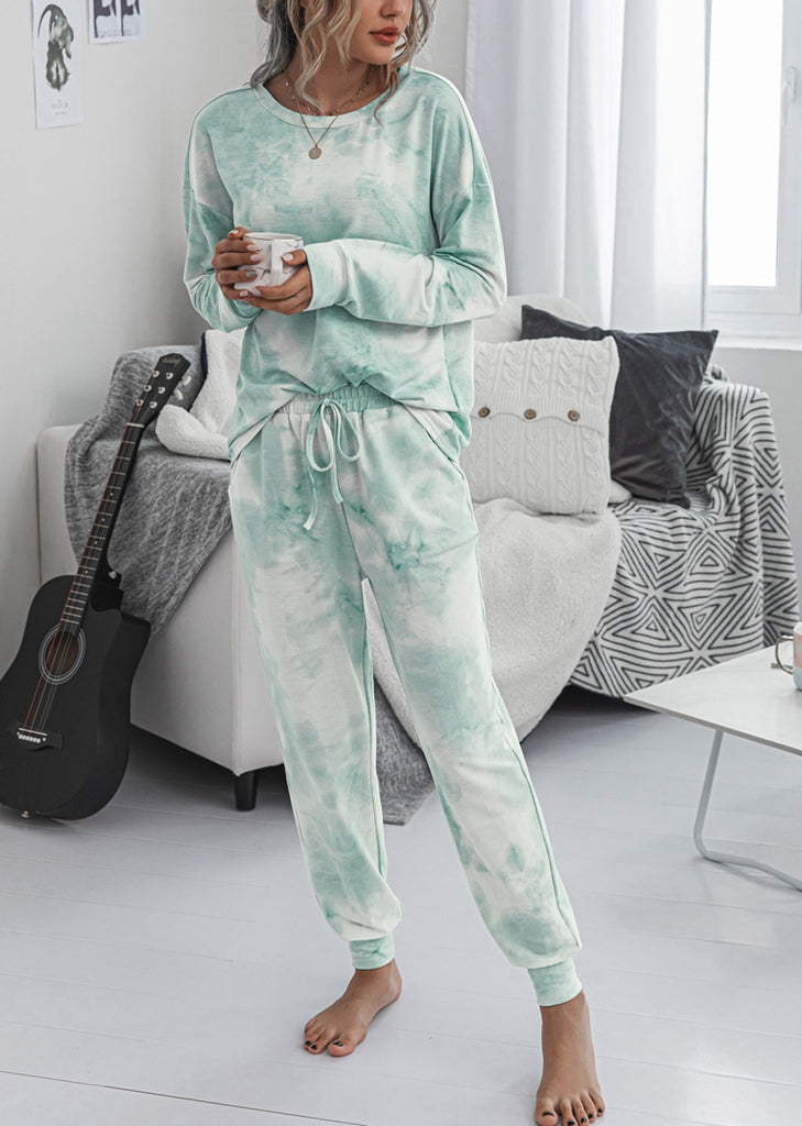 Free Shipping -- Women's Fashion Tie Dye Printed Ruffle Long SleeveTops and Pant Pajamas Set