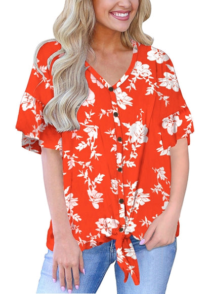 Free Shipping -- Floral Print Tie Front Knot Tops Button Down Short Sleeve Blouse