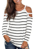 Free Shipping -- White Stripe Casual Long Sleeve Cut Out Tops Deep V Neck T Shirts