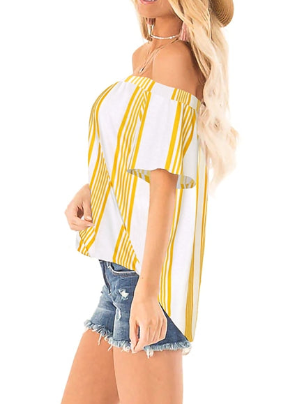 Free Shipping -- Yellow Stripe Print Cold Shoulder Tops Short Sleeve Shirt