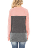 Free Shipping -- Womens Casual Color Block Tunic Tops Twist Knot Pullover Sweatshirts