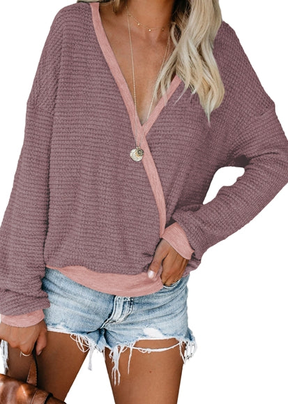 Free Shipping -- Brick Red Cross Wrap Front V-Neck Long Sleeve Loose Cardigan