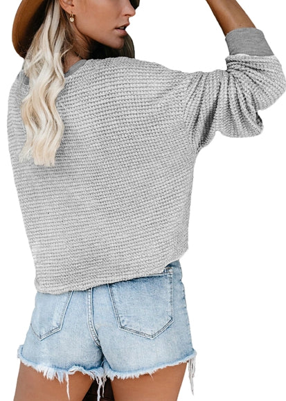 Free Shipping -- Light Grey Cross Wrap Front V-Neck Long Sleeve Loose Cardigan